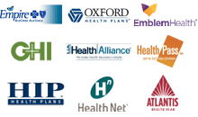 We represent Empire BlueCross, Oxford Health, EmblemHealth, GHI, LIA Health Alliance, HealthPass, HIP, HealthNet, and Atlantis Health Plans
